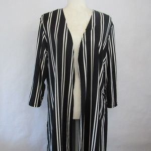 XL Black & White Long Duster/Sweater